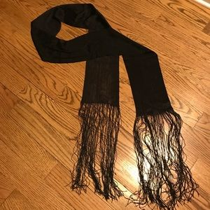 Accessories - 70in Black Scarf With Long Fringes